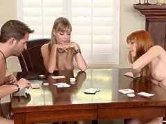 Playing strip poker with two lovely girls
