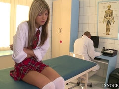 Sexy schoolgirl Gina Gerson seduced doctor to fuck
