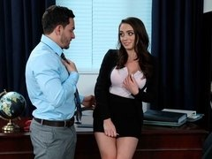 Busty secretary Ashly Anderson helps her boss date with sex!