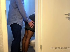 Boss caught me on the office restroom - sex without condom finally ends with creampie impregnation