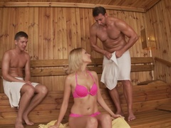 Sauna Threesome - Babe Gets Sizzling Double Penetration