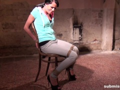 Samantha chair-tied cleavegagged tit-grabbed