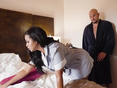 Latina maid joins him in the bedroom for wild fucking