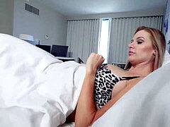 Sexy wifey Jenna Jones is longing for some fuck-stick so she fucks with her naughty stepson and go crazy over his giant dick.