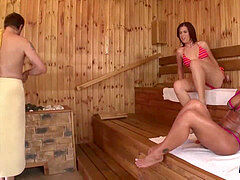 2 beotches get fucked in a sauna