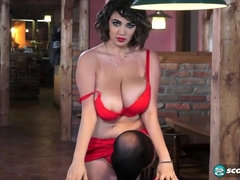Curly-haired chick with very big boobs Alexya poses on a billiard table