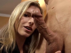 Dirty talking Blond mother i´d like to fuck does a handjob till happy end