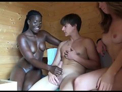 Lucky guy fucks Ebony bitch and girlfriend in the sauna