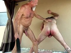 Gay grandpa smacks wooly booty before backyard bareback
