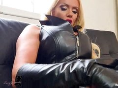 Leather Bitch blonde bitch Lucy Zara finger romping labia