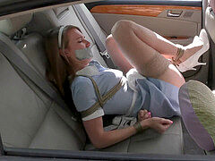 maid ashley lane corded in car schlong and duct tape ball-gagged