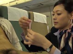 Asian stewardess gets rammed by a handsome passenger