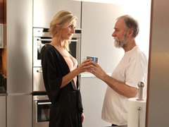 OLD4K. Jenny Smart having lovemaking with an old man with bear