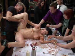 Poured in food slut gets anal fucked