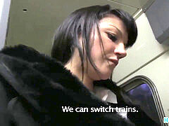 HornyAgent Penelope drills on the train to avoid the police