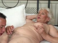 Breasty granny jizzed over
