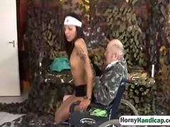 Crippled old guy fucks sexy young brunette nurse