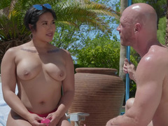 Interracial sex in exotic resort of Asian lady and seasoned fucker