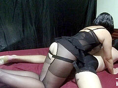 female dom immense black strapon. Mistress Lusinda rock-hard pegging slave