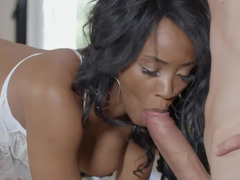 Ebony neighbor is interested in giant white cock of her pal