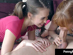 porn industry star couple Penny Pax & Riley Reid deep-throat Cock In Pigtails!