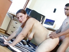 Ugly Saggy Jugs Mom Seduce Young-looking Skinny Boy to Fuck her