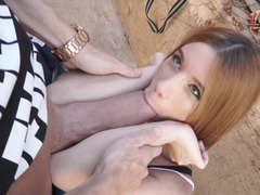 Pumping huge cock into a skinny slut outdoors
