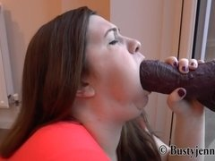 Chubby Babe Plays With Fake Dicks