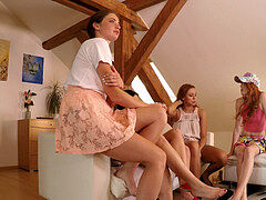 Upskirt Dance soiree with beautiful Leon Lambert women at home
