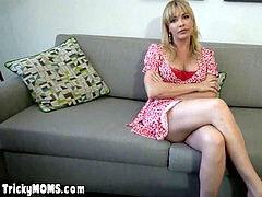 Supporting my milf stepmom from behind during work