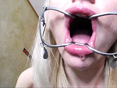 light-haired whore with Spider Gag in Harness Deepthroat Huge fuck stick