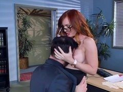 Red haired secretary got fucked from behind