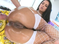 Brazilian babe with big oiled up booty takes hard anal pounding