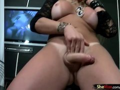 Bigtits blonde shemale teases and cums in a champagne glass