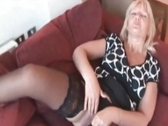 Check My Eager mom Sexy blonde wife in black stockings