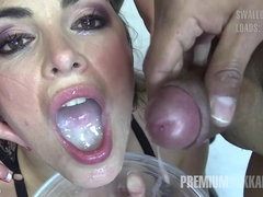 Brunette babe swallows cum in hardcore bukkake action