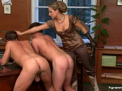 Female Dominatrix Takes on Two
