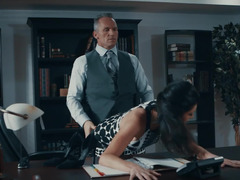 Businessman has to take a break and fuck horny wife in the office