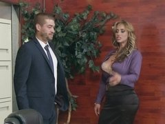 Busty woman fucked her business partner