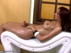 FULL movie of Red haired shebabe oiling up her puffy nipples