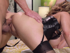 Leather looks great on double teamed milf Julia Ann