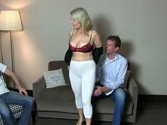 Breasty german Eager mom enjoys DP