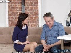 Casting babe banged by grandpa