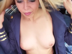 Stewardess Gives Sloppy Road Head