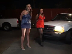Trashy prostitutes detained, hand cuffed and sexually punished