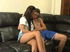 Blistering Asian ladyboy deep-throats pale studs chiseled hard-on on bed