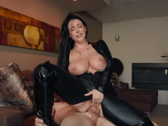 Angela White in leather clothes nailed by active fucker Zach Wild
