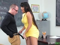 Sexy milf teacher Mercedes Carrera blows on stud's cock in the classroom