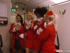 Horny stewardess are spying their curly girlfriend hotly fucking ion bathroom