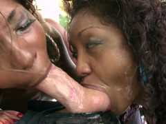Sloppy gagging black girls suck big white dick together